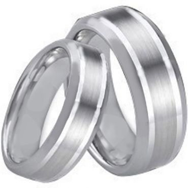 *COI Tungsten Carbide Center Line Beveled Edges Ring-TG1662