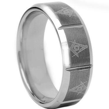 *COI Tungsten Carbide Masonic Beveled Edges Ring - TG1760AA
