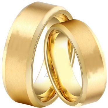 *COI Gold Tone Tungsten Carbide Polished Shiny Matt Beveled Edges Ring-TG1829