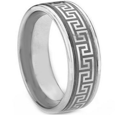 *COI Tungsten Carbide Greek Key Double Grooves Ring-TG1831