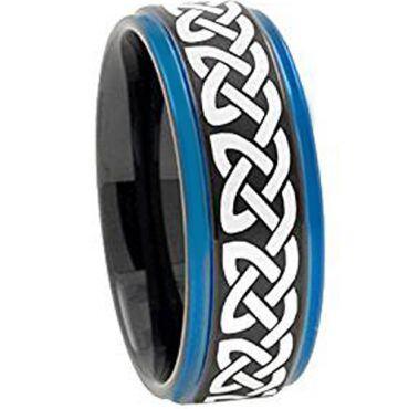 COI Tungsten Carbide Black Blue Celtic Step Edges Ring-TG1840AA
