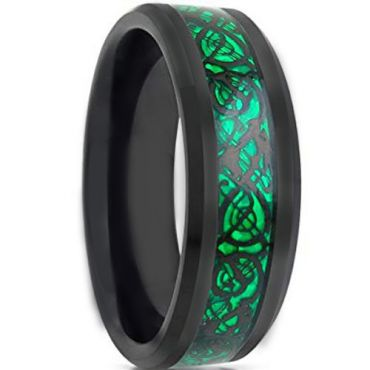 *COI Black Tungsten Carbide Dragon Beveled Edges Ring-TG1841