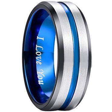 COI Tungsten Carbide Black Blue Center Groove Ring - 1903