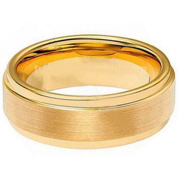 *COI Gold Tone Tungsten Carbide Step Edges Ring-TG1942A