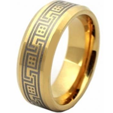 COI Gold Tone Tungsten Carbide Greek Key Ring-TG2828AA