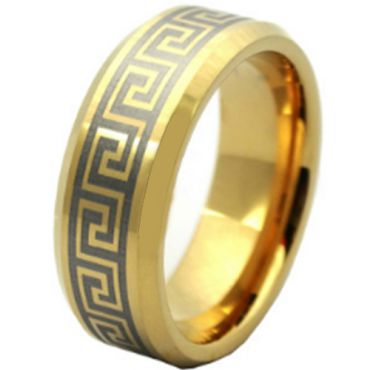 COI Gold Tone Tungsten Carbide Greek Key Ring-TG4185AA