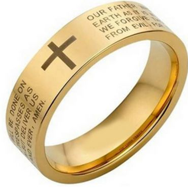 *COI Gold Tone Tungsten Carbide Cross Scripture Ring-TG4463AA
