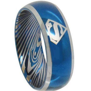 *COI Tungsten Carbide Blue Silver Superman Damascus Ring - TG3839