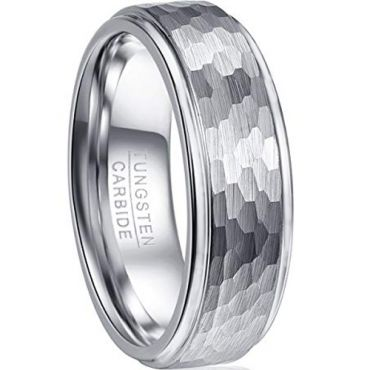 *COI Tungsten Carbide Hammered Step Edges Ring-TG2093