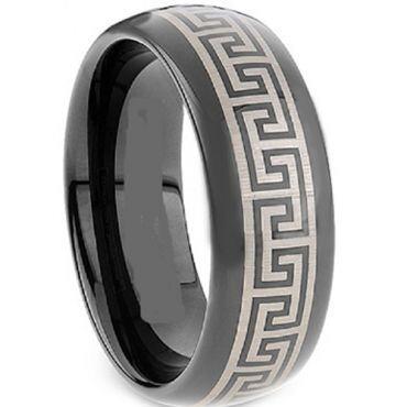 COI Black Tungsten Carbide Greek Key Dome Court Ring-TG2117A