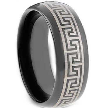 COI Black Tungsten Carbide Greek Key Dome Court Ring-TG2117A