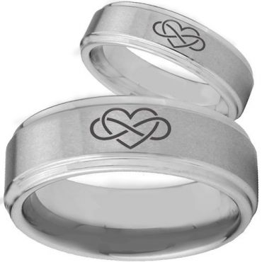 *COI Tungsten Carbide Infinity Hearts Step Edges Ring-TG2146BB