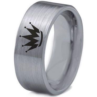 COI Tungsten Carbide King Crown Pipe Cut Flat Ring-2205