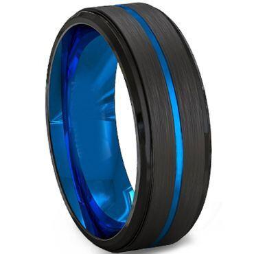 COI Tungsten Carbide Black Blue Center Groove Ring-TG2219C