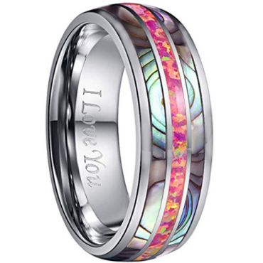 COI Tungsten Carbide Pink Crushed Opal & Abalone Shell Dome Court Ring-2242