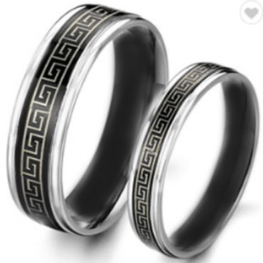COI Tungsten Carbide Greek Key Beveled Edges Ring-TG2246CC