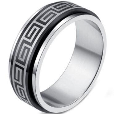COI Tungsten Carbide Greek Key Beveled Edges Ring-TG2246CC