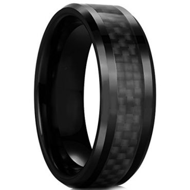 COI Black Tungsten Carbide Ring With Black Carbon Fiber-TG2289