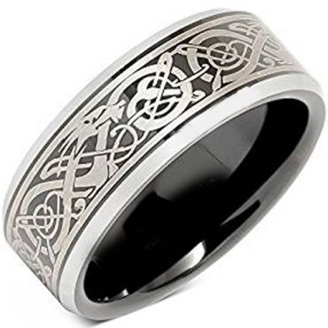 *COI Tungsten Carbide Dragon Beveled Edges Ring-TG4657AA