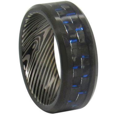 *COI Tungsten Carbide Damascus Ring With Carbon Fiber-TG347CC
