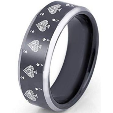 *COI Tungsten Carbide Aces of Spades Beveled Edges Ring-TG2372CC