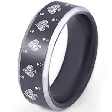 *COI Tungsten Carbide Aces of Spades Beveled Edges Ring-TG2372CC