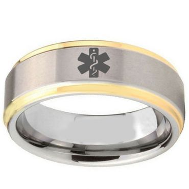 COI Gold Tone Tungsten Carbide Medical Alert Ring-TG2407BB
