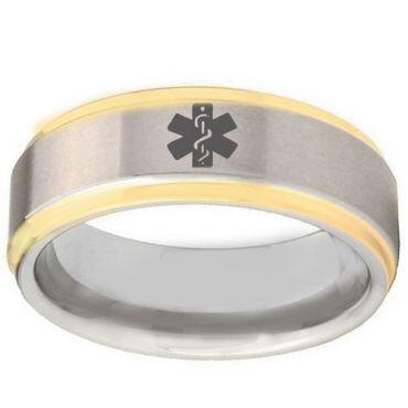 COI Gold Tone Tungsten Carbide Medical Alert Ring-TG2407BB