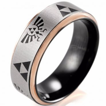 COI Tungsten Carbide Black Rose Legend of Zelda Ring-TG2410CC