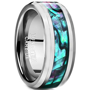 COI Tungsten Carbide Abalone Shell Beveled Edges Ring-TG2436AA