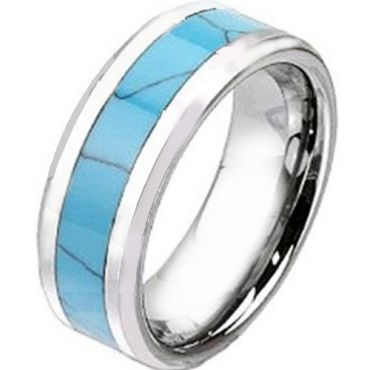 COI Tungsten Carbide Turquoise Beveled Edges Ring-TG2438