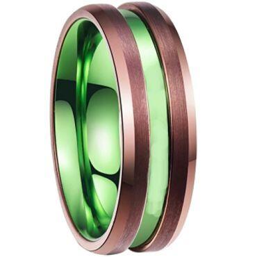 COI Tungsten Carbide Espresso Green Center Groove Ring-TG2534BB