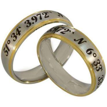 COI Gold Tone Tungsten Carbide Custom Coordinate Step Edges Ring-TG2565