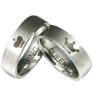 COI Tungsten Carbide King Queen Crown Pipe Cut Flat Ring-TG2571A