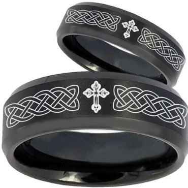 *COI Black Tungsten Carbide Cross Celtic Step Edges Ring-2603BB