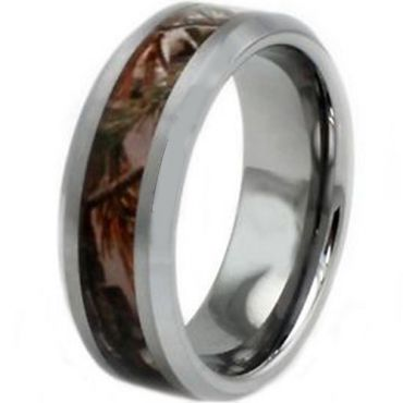 COI Tungsten Carbide Camo Beveled Edges Ring - TG3563