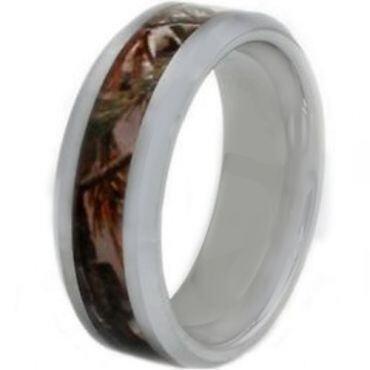 COI Tungsten Carbide Camo Beveled Edges Ring - TG3563