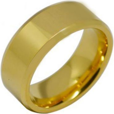 COI Gold Tone Tungsten Carbide Beveled Edges Ring-TG1936