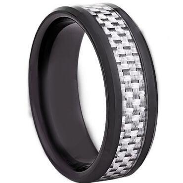 COI Black Tungsten Carbide Ring With White Carbon Fiber-TG2288