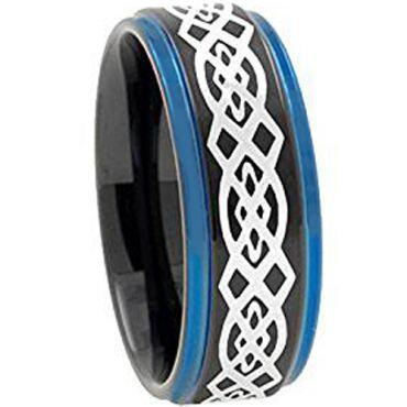 COI Tungsten Carbide Black Blue Celtic Step Edges Ring-TG2730AA