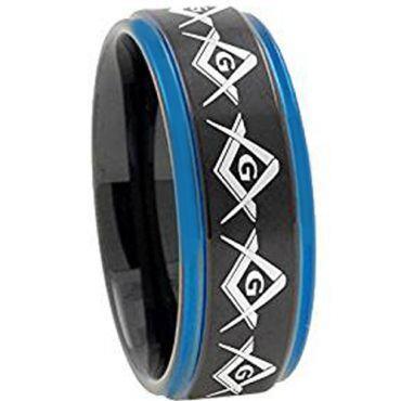 COI Tungsten Carbide Black Blue Masonic Step Edges Ring-TG2741AA