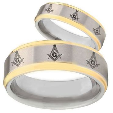 COI Gold Tone Tungsten Carbide Masonic Step Edges Ring-TG2743B