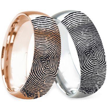 COI Tungsten Carbide Rose/Silver Custom FingerPrint Ring - TG2762