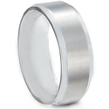 *COI Tungsten Carbide High Polished Satin Finished Beveled Edges Ring-TG613