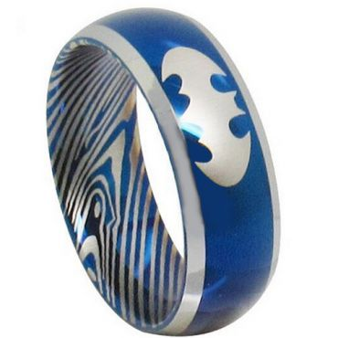 *COI Tungsten Carbide Batman Damascus Beveled Edges Ring-TG3853AA
