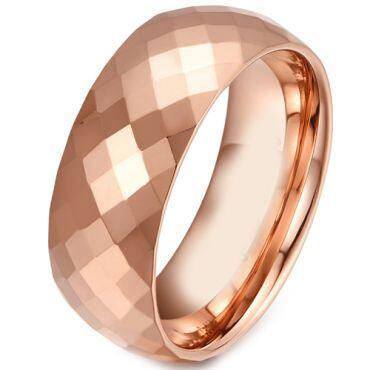 COI Rose Tungsten Carbide Faceted Wedding Band Ring-TG281A
