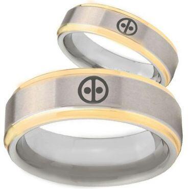 COI Gold Tone Tungsten Carbide Deadpool Step Edges Ring-TG2833BB