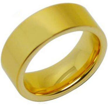 *COI Gold Tone Tungsten Carbide Pipe Cut Flat Ring-TG288AA