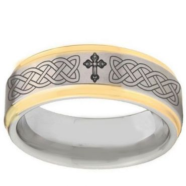 *COI Gold Tone Tungsten Carbide Cross Celtic Ring-TG2895