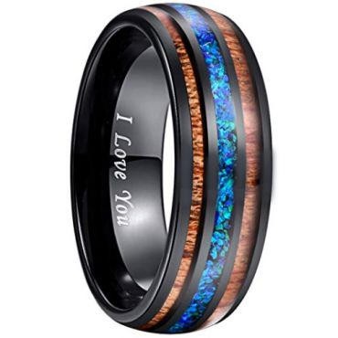 COI Black Tungsten Carbide Blue Crushed Opal and Wood Ring - 2897